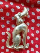 """Dog Pin Brooch 2.5"""" x 2.25"""" Vintage 1950s Plastic Celluloid Frosted White Hound"""