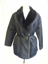 Ladies Coat - Dorothy Perkins, Size 14, Black, Belted, Fur Collar,  - 2498