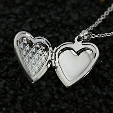 Trendy Women Sweet Crystal Heart 925 Silver Photo Locket Pendant Chain Necklace