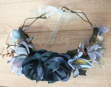 Blue Blackish Green Flower Floral Party Beach Tiara Crown Hair Headband Garland
