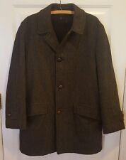 vtg 50s Timme Tuft green+brown herringbone tweed fur lined wool over coat 38