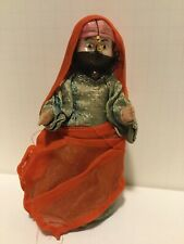 Rare Vintage Plastic Female Doll Wearing Traditional Muslim Red Vail Green Dress