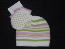 Greendog NWT Girls Hat Mittens Pastel Pink Green Stripe Sz S G1