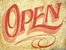 "TIN SIGN ""Open Aged"" Retail  Deco  Garage Wall Decor"