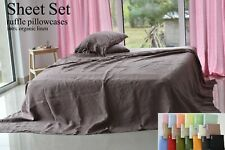 LINEN SHEET SET in a pink ash Queen King Twin linen bedding set Luxury Eco