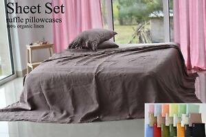 LINEN SHEET SET in a pink ash Queen King Twin linen bedding set Luxury Eco