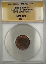 1863 Patriotic Civil War Token 189/399a Anacs Ms-63 Red-Brown (Better)