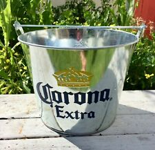2- Corona Extra Silver Galvanized Metal Round Beer Ice Buckets 5 Quart New