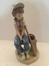 "Lladro Figurine 5291 ""Little Leager, On Bench"" Mint, Retired 1990, Baseball Boy"