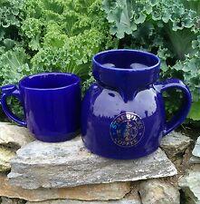 Starbucks Cobalt Blue Chubby Travel Mug Silver Logo Ceramic, No Lid + Bonus Mug