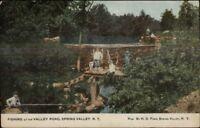 Spring Valley NY Fishing at Valley Pond c1910 Postcard