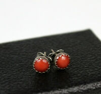 Vintage Red Coral Sterling Earrings Stuf Style 6mm Size Backs are NOT Sterling
