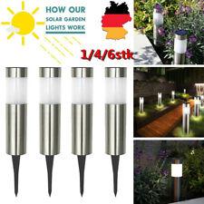Solarlampen Garten 4/6er Set LED Solarleuchte aus Edelstahl Solar Steck Leuchten