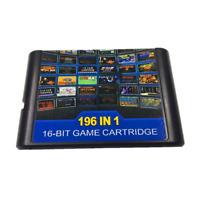 Megadrive Genesis 196 in 1 Multi Cart 16 Bit Retro Video Game Cartridge Card