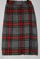 Vintage JH Collectibles Pencil Skirt 6 Wool Gray Red Yellow Tweed Plaid Tartan