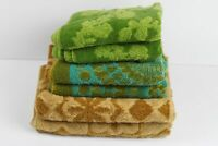 Lot of 6 Vintage Bath Hand Towels Brown Blue Green Floral