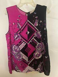NWT Emilio Pucci Silk Floral Geometric Print Blouse Top Fuchsia Multi SZ 42 $539