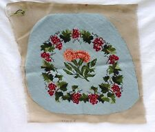 French Hand Made Needlepoint Tapestry Chair Pillow Cover Grapes Flowers