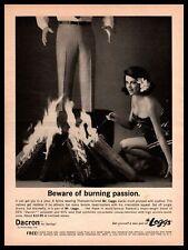 1964 Mr. Leggs Dacron Slacks Lusty Island Girl Burning Fire Vintage Print Ad