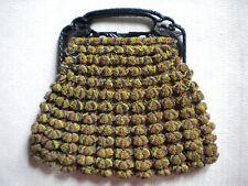 Vintage Art Deco Crocheted Peacock Colorful Bakelite Handle Purse Retro Mod