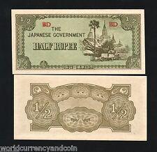 BURMA 1/2 RUPEE P13 1942 BUNDLE AUNC MONEY NOTE x 100 BILL JAPANESE MYANMAR LOT