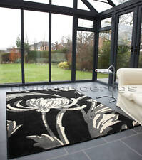 EXTRA LARGE BLACK CREAM GREY FLOWER MODERN RUG 160x225