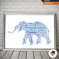 ELEPHANT WORD ART COMPLETELY PERSONALISED CHRISTMAS BIRTHDAY GIFT HIM HER v