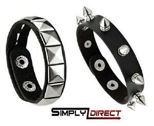 Black Stud Bracelet - Punk Goth fancy dress -Rocker- Leather Look