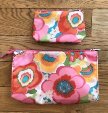 Clinique Pink Floral Cosmetic Makeup Bag & Matching Card Pouch