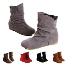 New Women Round Toe Pull On Flats Ankle Boots Suede Fabric Girl Shoes Comfort D