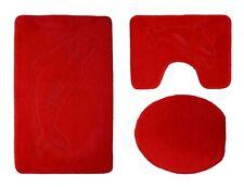 Badgarnitur 3 tlg. Delphin in rot Badvorleger WC Bezug Vorleger f. Stand WC
