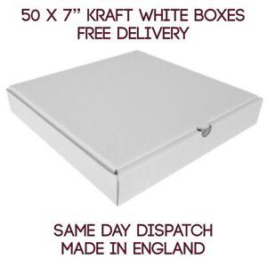 """50 Plain White Pizza Storage Takeaway Strong Quality Postal Boxes, 7"""" Inch Cheap"""