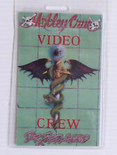MOTLEY CRUE Laminated VIDEO CREW Backstage Tour Pass - DR FEELGOOD