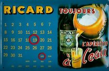 Ricard Pastis Kalender quer Blechschild Schild 3D geprägt Tin Sign 20 x 30 cm