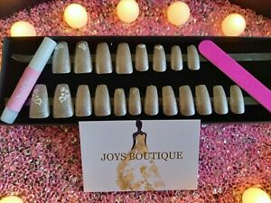 HAND PAINTED SILVER SPARKLE WEDDING DESIGN 20 FALSE NAILS SET IN GIFT BOX