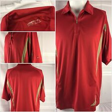 Nike Fit Dry Golf Shirt Medium Red Poly Spandex 1/4 Zip EUC YGI 43pp