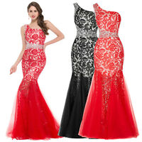 Red Lace Formal Evening Gown Wedding Mermaid Bridesmaid Dress Pageant COCKTAIL