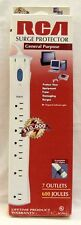 RCA 7-Outlet Surge Strip Protector 600Jou. 4' Cord White Wall Tap <LIFETIME>$10K