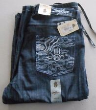 MISKEEN Leg Drawstring Gray Jean Shorts Pants 42 Embroidered Pockets $82 Retail