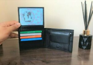 Mens Real Leather Black Wallet Card Holder with Coin Pocket, Gift Photo Card