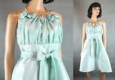 Bari Jay Halter Dress Sz 10 M Light Aqua Blue Taffeta Bridesmaid Prom Gown Short