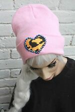 PINK YELLOW HEART BEANIE HAT INDIE ALT HIPSTER SOFT GRUNGE CROSS
