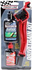 Finish Line Bike Drivetrain Starter Kit Grunge Brush Dry lube + Chain Degreaser