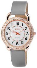 Damenuhr Weiß Grau Gold Strass Analog Quarz Leder Armbanduhr D-1273250002300