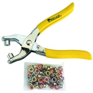Grommet Pliers Kit,100 FREE Grommets for Adding Grommets to Tents,Tarps & Fabric