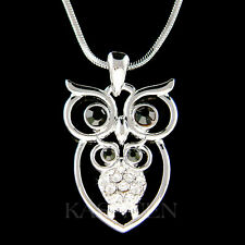 Mother Love Baby Owl Made with Swarovski Crystal Hoot Bird Charm Chain Necklace