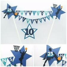 Personalised Cake Topper.  Basketball Design.  Any Name, Age & Colour Choice.