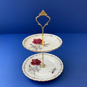 """Royal Stafford """"Roses to Remember"""" Small Cake/Biscuit Stand."""