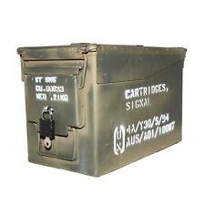 "50 CAL ""LOCKABLE"" Ammo Box Ammunition Steel Box Tool Box Ex Army Used"