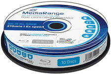 10 Mediarange Rohlinge Blu-ray BD-R Dual Layer full printable 50GB 6x Spindel